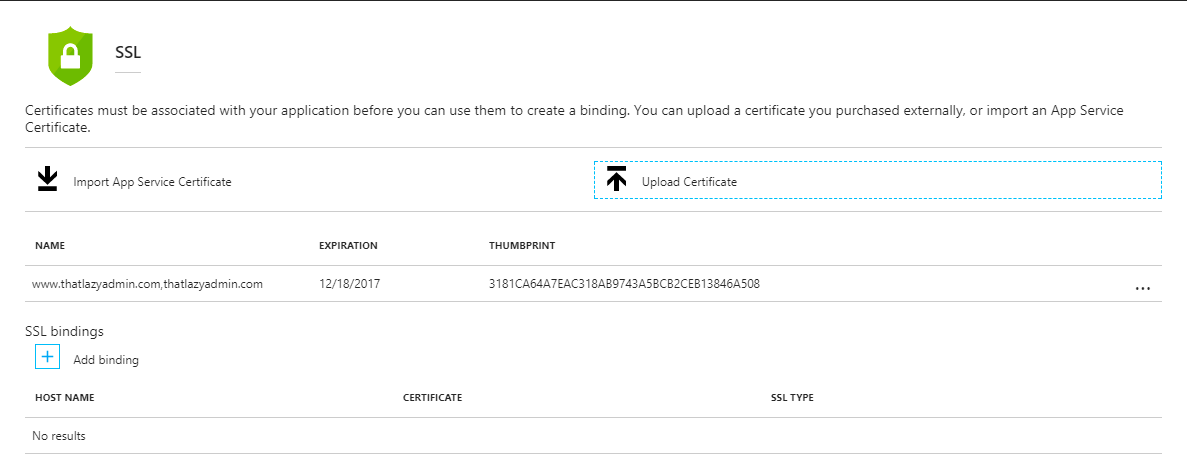 How to add an SSL Certificate to Azure Web App  - ThatLazyAdmin