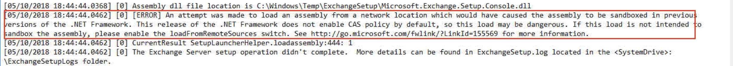 Exchange 2016 Installation Fails with: An attempt was made