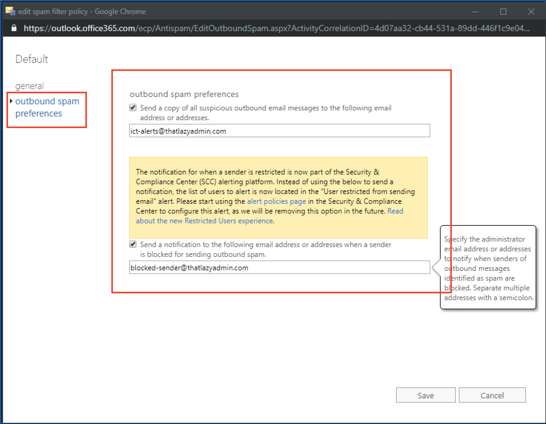 Configure Outbound Spam Notification Office 365 Exchange